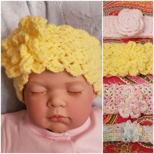 4 BABY HEADBANDS *crocheted with flowers